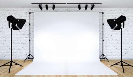Fotostudioverlichting opgezet met witte achtergrond, 3D-rendering