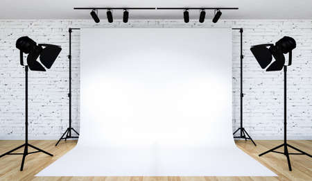 Photo studio lighting set up with white backdrop, 3D Rendering