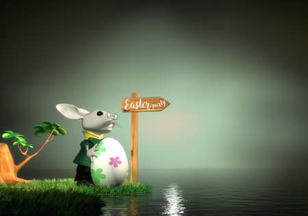 Easter bunny finding the way to Easter party, 3D Rendering Zdjęcie Seryjne