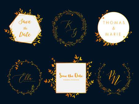 Wedding invitation floral wreath minimal design. Vector template with flourishes ornament elements. Ilustracja