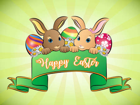 Happy Easter banner greeting card, Vector Illustration