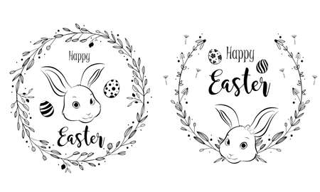 Happy Easter bunny with floral wreath frame, hand drawing style. Vector Illustration