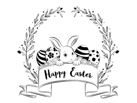 Happy Easter banner with floral wreath frame, hand drawing style. Vector Illustration
