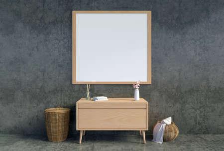 Mock up empty poster frame in modern interior backgrond, Scandinavian style, 3D Rendering Zdjęcie Seryjne