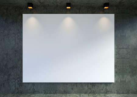 Mock up empty canvas poster frame in modern loft gallery interior backgrond, 3D Rendering