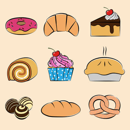 Pastries and desserts collection set, Hand-drawn style, Vector illustration Ilustracja
