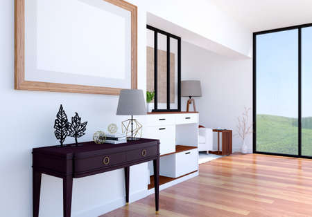 Modern luxury living room interior background with mock up empty poster frame, 3D Rendering