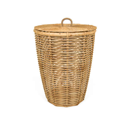 Rattan basket with lid isolated on white background, 3D Rendering