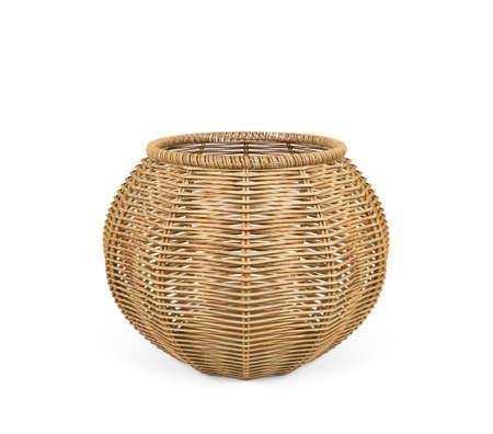 Rattan basket isolated on white background, 3D Rendering Zdjęcie Seryjne