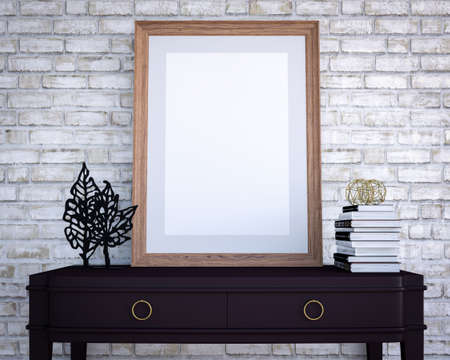 Empty poster frame on a chest of drawers, 3D Rendering Zdjęcie Seryjne