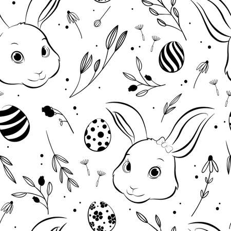 Easter bunny and Easter egg seamless pattern, hand drawing style. Vector Illustration