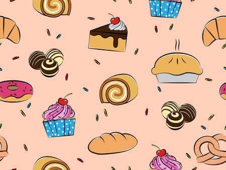 Pastries and desserts seamless pattern, Hand-drawn style, Vector illustration Ilustracja
