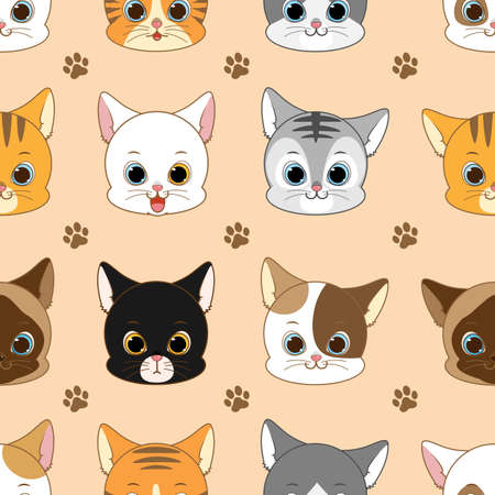 Cute Smiling Cat Head Seamless Pattern, Vector Illustration