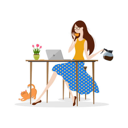 Young woman drinking coffee and working on laptop computer, Vector illustration
