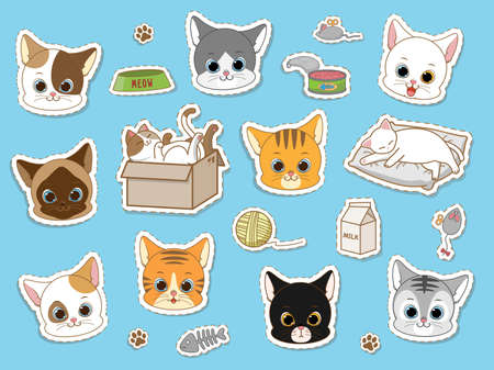 Cute cat sticker collection set, cartoon doodles vector illustration Ilustração