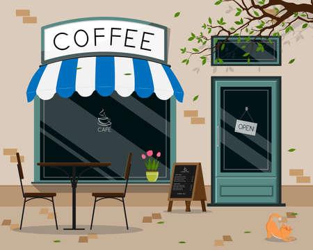 Modern cafe shop exterior, street cafe outdoor terrace flat design, vector illustration