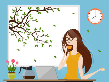 Young woman enjoying morning coffee and working on laptop computer, Vector illustration
