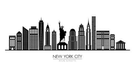 New York city skyline silhouette flat design, vector illustration