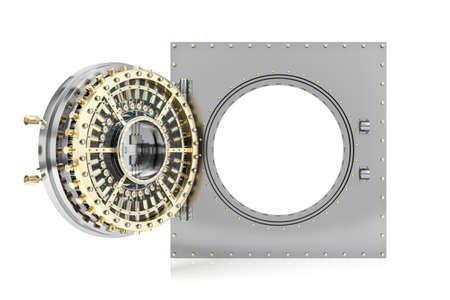 Opened bank vault door with empty white background for mock up, 3D Rendering
