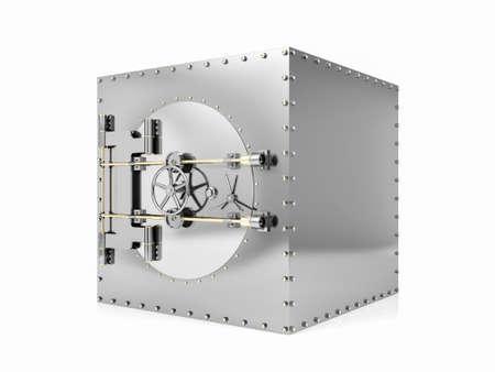 Bank safe deposit box and closed bank vault door, 3D Rendering