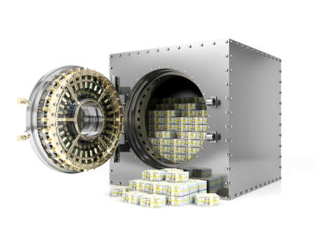 Bank safe deposit box and opened bank vault door revealing dollar banknote stacks, 3D Rendering