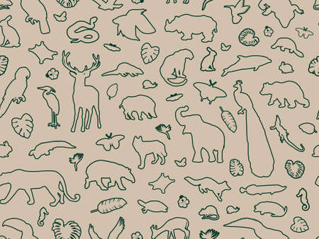 Animal shaped outline seamless pattern, vector illustration