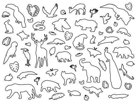 Animal shaped outline isolated, vector illustration Illustration