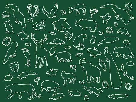 Animal shaped outline isolated, vector illustration Ilustracja