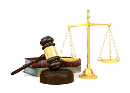Wooden judges gavel and golden scale and law book, 3D Rendering Zdjęcie Seryjne