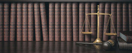 Low key filter law bookshelf with wooden judges gavel and golden scale , 3D Rendering