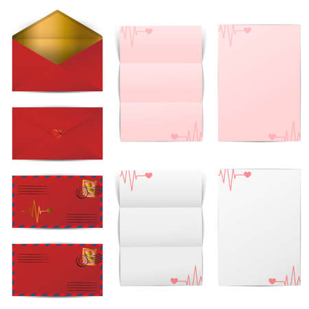 Red envelopes and blank letter papers template set for Valentines day, vector illustration