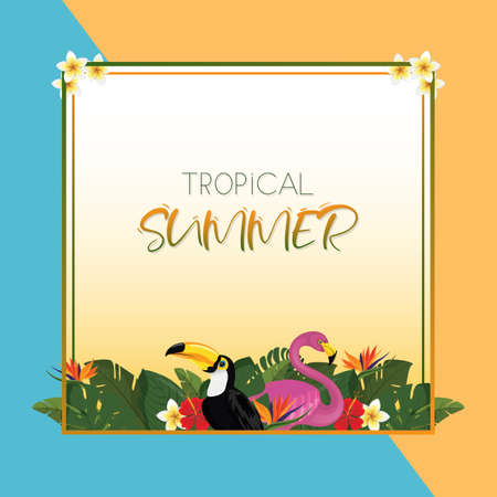 Tropical summer square frame design with exotic palm leaves, Hibiscus flowers, Toucan and Flamingo. Vector Illustration
