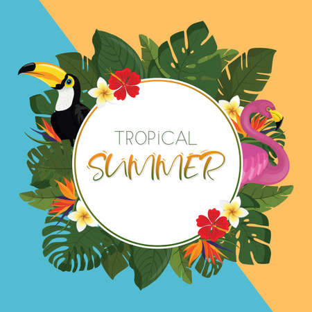 Tropical summer round frame design with exotic palm leaves, Hibiscus flowers, Toucan and Flamingo. Vector Illustration