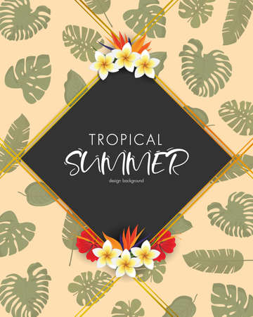 Tropical summer frame design background with exotic palm leaves and Hibiscus flowers. Vector Illustration