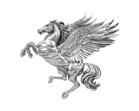 Silver metal flying horse Pegasus isolated on white background. 3D Rendering