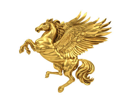 Golden flying horse Pegasus isolated on white background. 3D Rendering