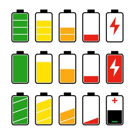 Icon set of battery level indicators Иллюстрация