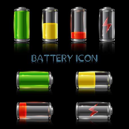 Realistic icon set of battery level indicators