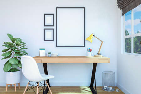 Working room interior with blank photo frame for mock up on wall, 3D Rendering Stock fotó