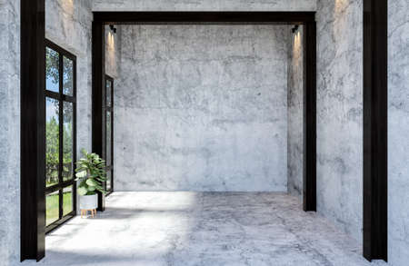 Modern Concrete Material Empty Hall Open Space Interior with Large Window, 3D Rendering