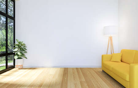 White Living Room Interior with Wooden Floor and Copy Space on Wall for Mock Up, 3D Rendering