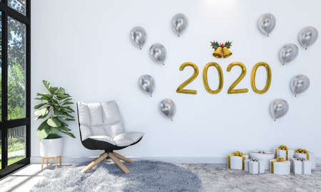 Interior of Living Room Decorating with Golden and Silver Balloon on Wall and Gift Boxes to Celebrate New Year 2020, 3D Rendering Stock fotó