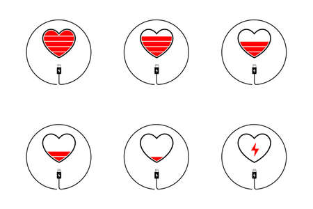 Love Charger, Heart Battery Icon, Valentines Day Concept, Vector Illustration