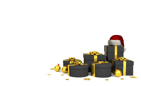 Black Gift Boxes with Golden Ribbon and Santa Claus Hat on White background, 3D Rendering Stock Photo