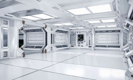 Futuristic Architecture Sci-Fi Hallway and Corridor Interior, 3D Rendering Banco de Imagens