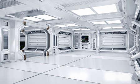 Interior de pasillo y pasillo de ciencia ficción de arquitectura futurista, representación 3D Foto de archivo