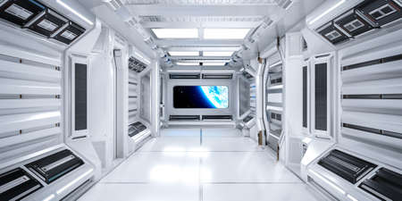 Futuristic Architecture Sci-Fi Corridor Interior in Space Station with Earth Planet View, 3D Rendering