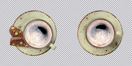 Coffee cup top view isolated with CLIPPING PATH, 3d rendering