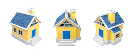 Yellow Small Cartoon House with CLIPPING PATH, 3D Rendering