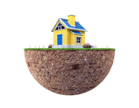 Floating land with small house and lawn isolated on white background, 3d rendering Zdjęcie Seryjne